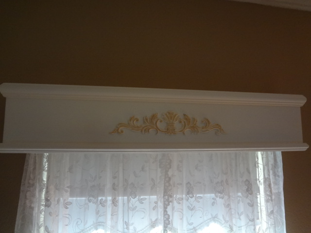cornice boards, home decor, window treatments, Dining Room Cornice Board