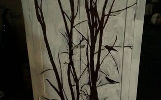 winter tree cabinet, chalk paint, kitchen cabinets, painted furniture, 1st coat of white I had to walk away awhile and actually posted a pic on hometalk to find out if I was crazy to keep on with with the mind numbing process I got an overwhelming response to keep on It was what I needed