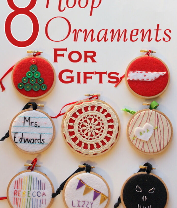 Eight ornament ideas for all those on your list!  http://www.craftsunleashed.com/index.php/seasonal/hoop-handmade-christmas-ornaments/#