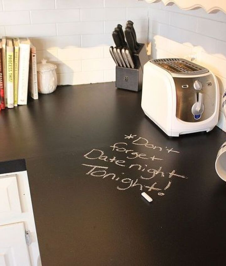 chalkboard countertops, chalkboard paint, countertops, diy, how to, kitchen design, Ecos paints has a 100 nontoxic No VOC allergy free chalkboard paint which would be food safe Or you can put a clear nontoxic coat over regular chalkboard paint I m replacing the tile backsplash soon never finished