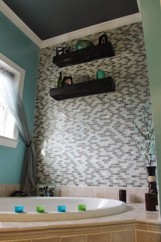 diy glass tile accent wall in master bathroom, bathroom ideas, home decor, tiling, Another shot of the completed accent wall