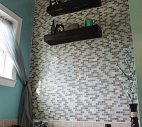 Diy Glass Tile Accent Wall In Master Bathroom, Bathroom Ideas, Home Decor,  Tiling Part 61