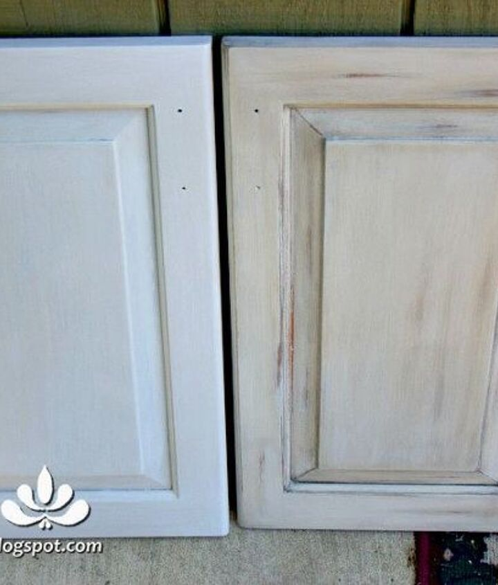before and after glazing and distressing