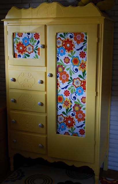 antique wardrobe transformation, cleaning tips, painted furniture, storage ideas, Playroom Wardrobe in Summer Squash
