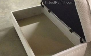 how to really reupholster a storage ottoman, painted furniture, reupholster, Before