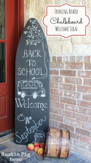 Completed Ironing Board Chalkboard Welcome Sign