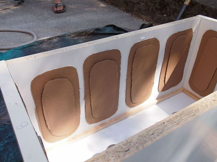 You build the outer box of the form. We added cardboard to create some decorative detail.