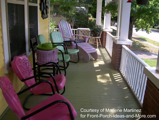 spruce up the porch for summertime, outdoor living, porches, Using bright fun colors wakes this porch up for summer