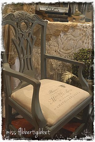 French style chair. ASCP paint. Hand stamped canvas seat with Graphics Fairy images