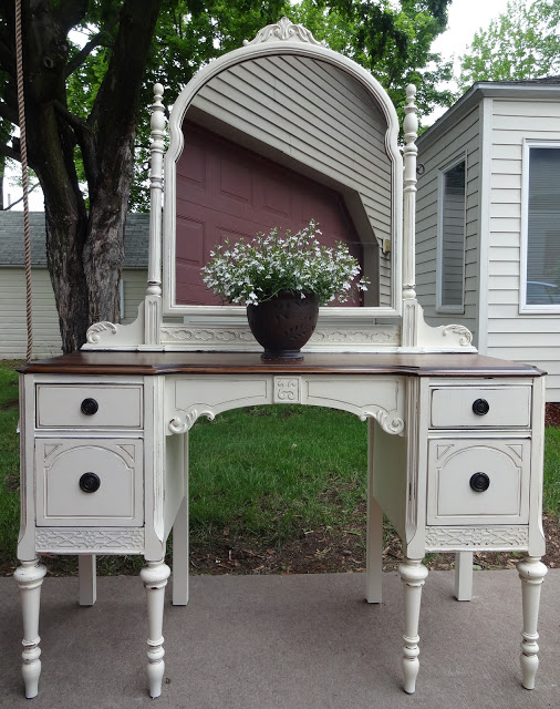antique vanity refinished in french vanilla, painted furniture, After there  was a lot of - Antique Vanity Refinished In French Vanilla Hometalk