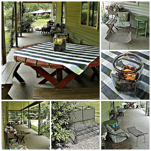 White Oak Studio (Pullman, MI)  open porch. Wooden and rattan furniture has been painted using outdoor quality latex paint. This furniture is stored inside an unheated shed for the winter months to protect it.