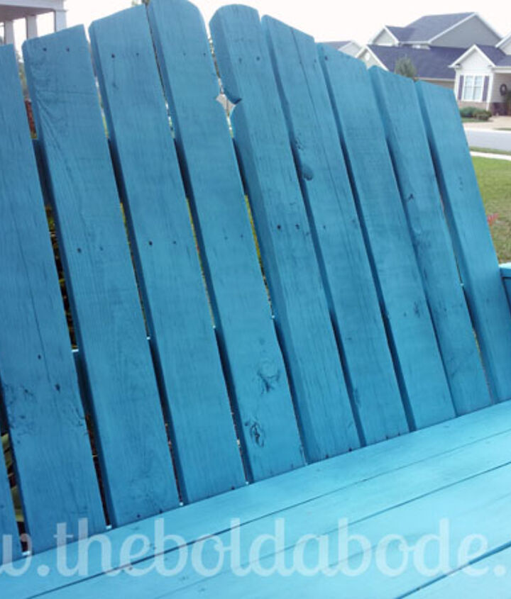 Painted a soft blue shade, this swing is an inviting and comfortable place to spend the summer days!