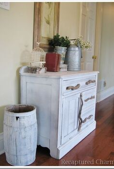 you ll never guess what s inside this cabinet, painted furniture, repurposing upcycling, rustic furniture, We used old branches from the yard as hardware in keeping with the rustic look