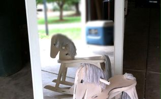 refinished an old dresser mirror and rocking horse, painted furniture, The mirror and rocking horse was refinished using plaster of paris and paint then sanded to the look I wanted