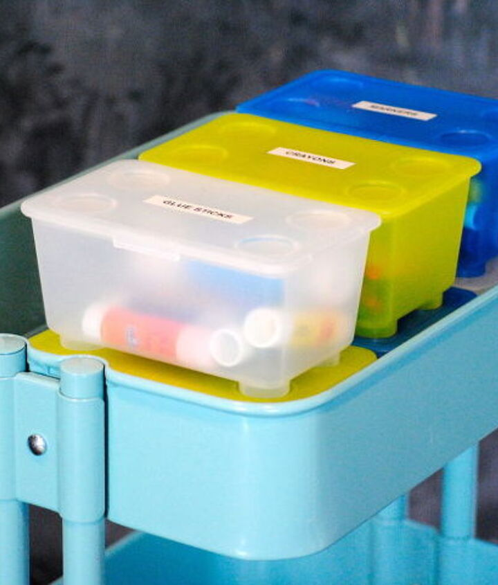 Bright containers (also from IKEA) hold markers, crayons and other small supplies.