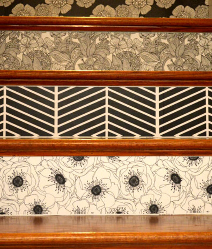 All Done!  Pop over to blog post to see the whole staircase and the bright pop of green in one of the patterns!