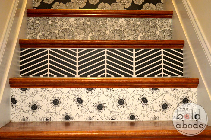 wallpaper update on the stairs, stairs, All Done Pop over to blog post to see the whole staircase and the bright pop of green in one of the patterns