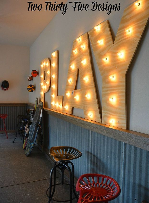 large diy marquee letters, diy, garage doors, garages, how to, lighting, wall decor