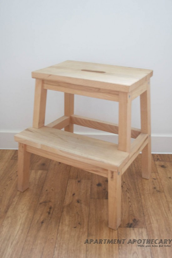 Take one £6 Ikea stool or any piece of wooden furniture with legs.
