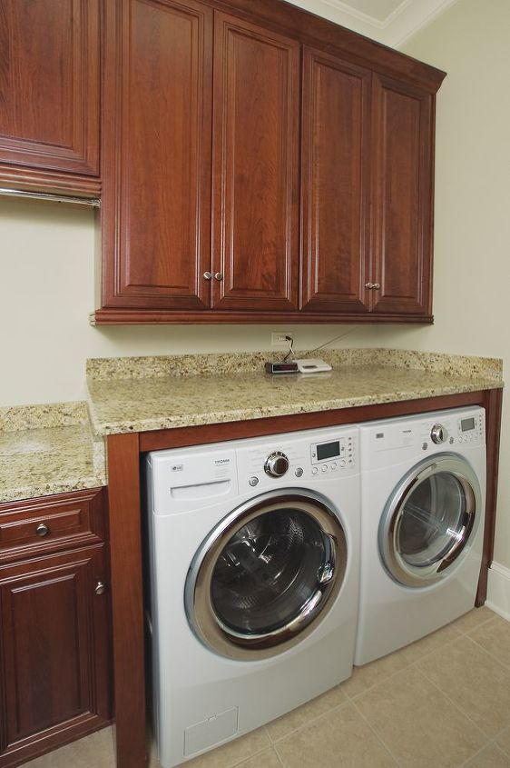 Dual Level Countertop - This is a great way to utilize the additional space created by a front-loading washer!