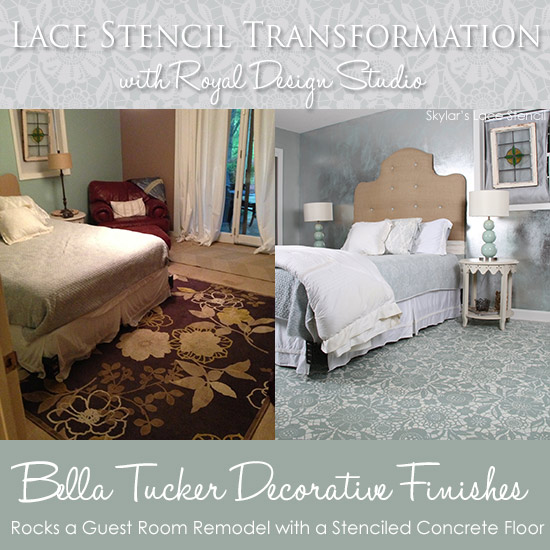 Lace Stencil Transformation with Royal Design Studio Stencils - by Bella Tucker Decorative Finishes http://www.royaldesignstudio.com/blogs/stencil-ideas/8133049-a-stenciled-and-painted-lacy-floor