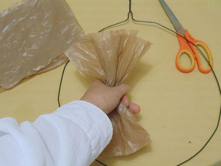 brown plastic bag wreath, crafts, repurposing upcycling, wreaths