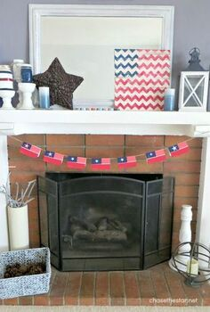 4th of july mantel, patriotic decor ideas, seasonal holiday d cor, Red white and blue 4th of July chevron wood plank flag