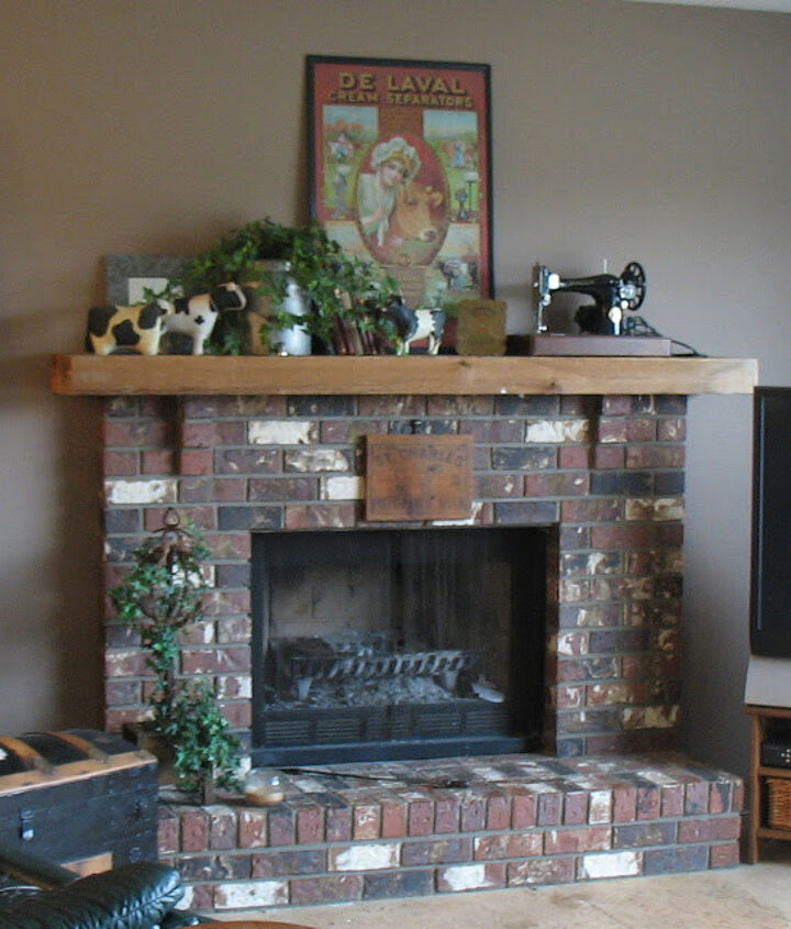 revamping an outdated brick fireplace without destruction, concrete masonry, fireplaces mantels, home decor, A typical unassuming brick fireplace with a tiny mantel was in need of a new look