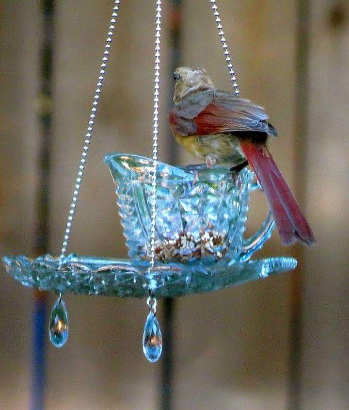 teacup hanging feeders, outdoor living, repurposing upcycling