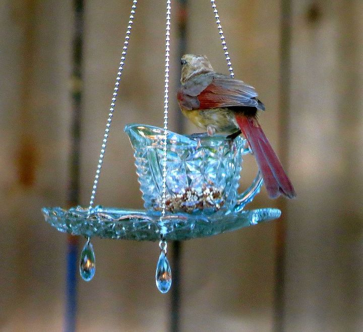 teacup hanging feeders, outdoor living, repurposing upcycling