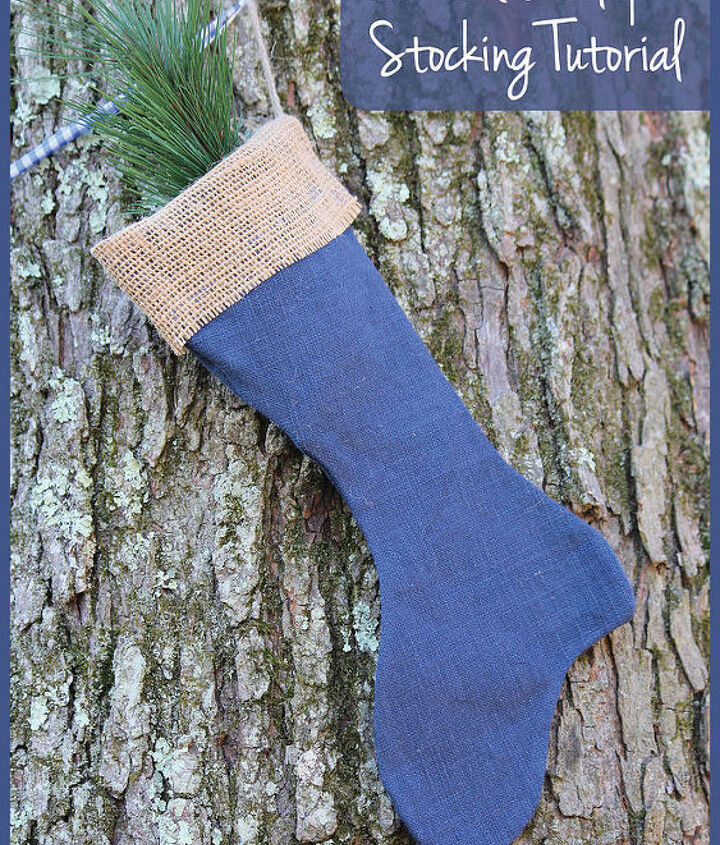 linen burlap stockings diy tutorial, christmas decorations, crafts, seasonal holiday decor