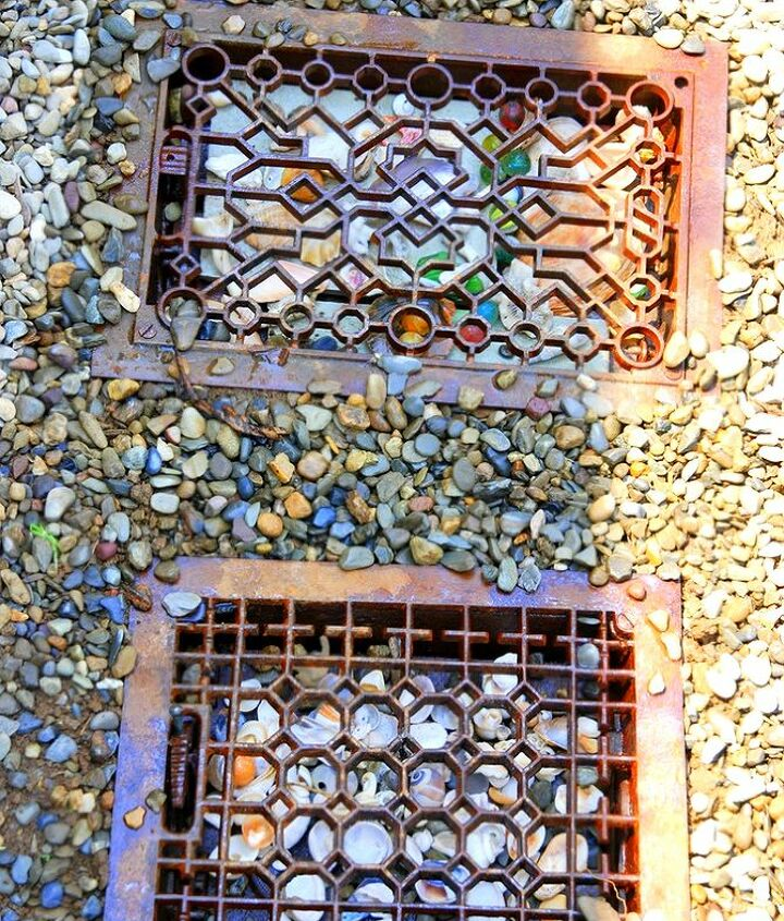 Repurposed vintage grates add whimsy to a walkway.