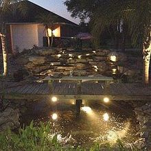 this is a 10k gal koi pond it had a bead filter and uv lights we changed it to a, outdoor living, ponds water features, lights always make a waterfall amazing