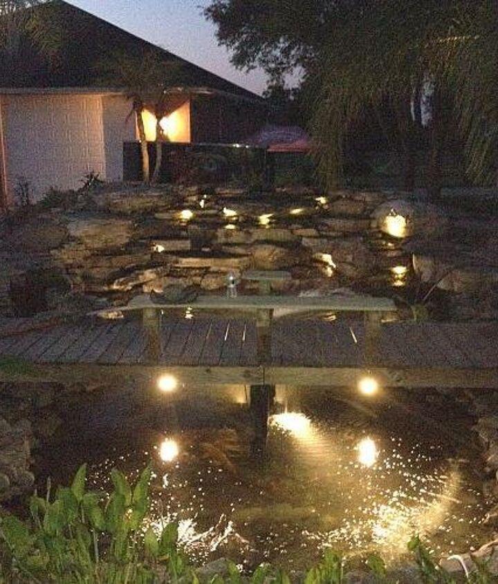 lights always make a waterfall amazing