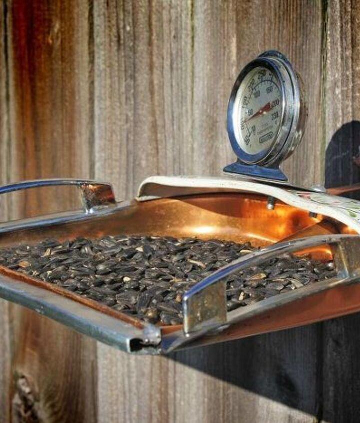 Repurposed Copper Dust Pan Bird Feeder by GadgetSponge.com
