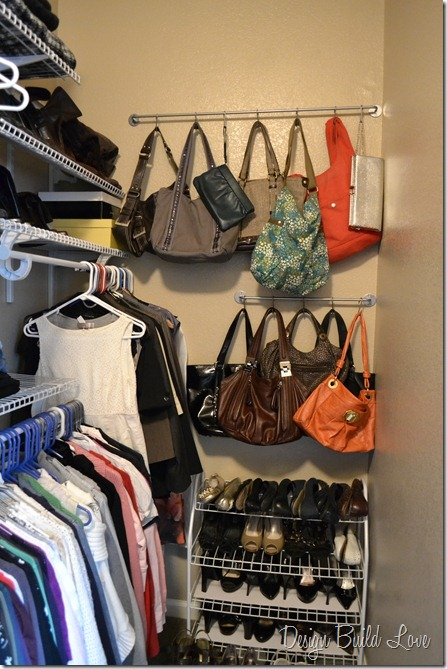 5 purse storage solution, cleaning tips, closet, shelving ideas, storage ideas, Use Ikea hooks and bar to store purses on walls