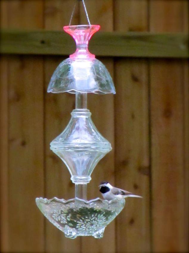 pretty glass bird feeders, crafts, outdoor living