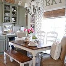 a little spring in the breakfast area, kitchen design, seasonal holiday decor, Our new farmhouse bench helps with the French Country feel I want this space to have
