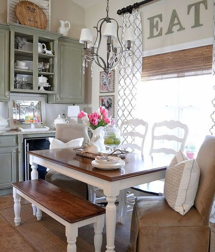 Our new farmhouse bench helps with the French Country feel I want this space to have.