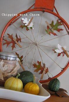 a few fall re purposing ideas, chalkboard paint, crafts, repurposing upcycling, seasonal holiday decor, wreaths, Basketball hoop to pumpkin wreath