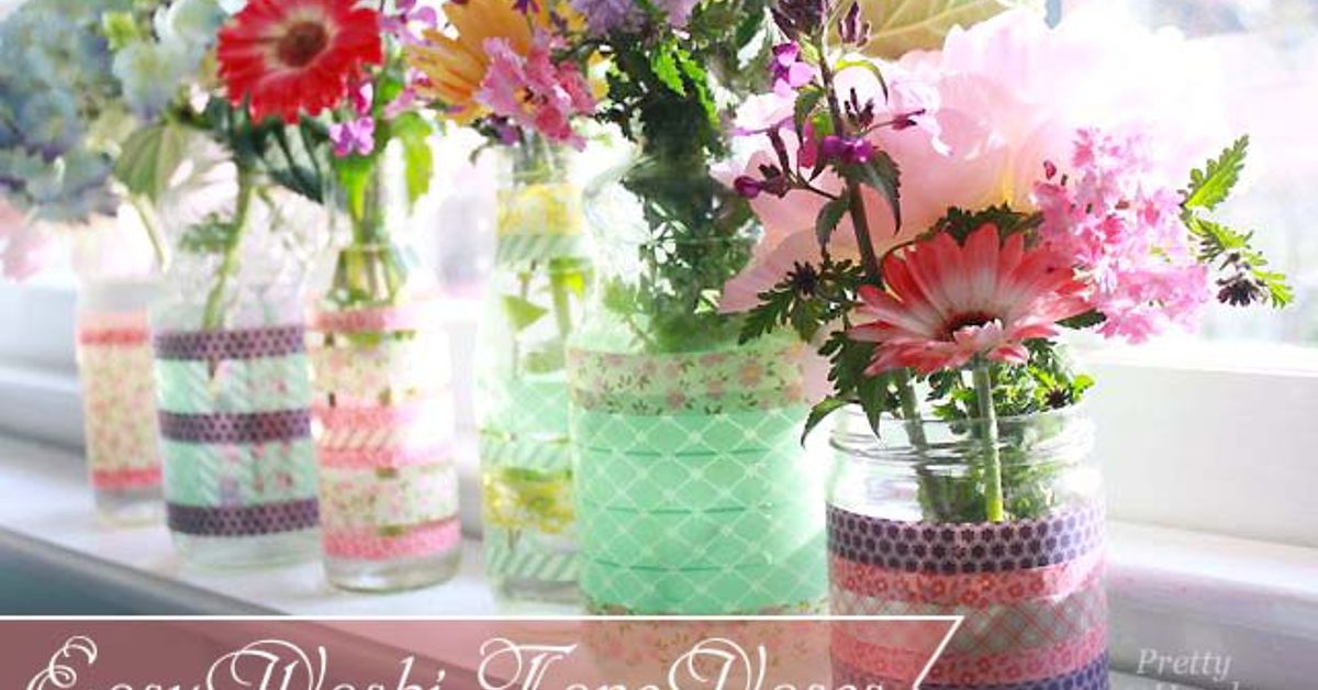 simple washi tape vases using recycled jars and bottles hometalk