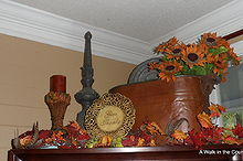 vintage copper boiling pots, home decor, seasonal holiday decor, Fall Decorations using Copper Boiler pot