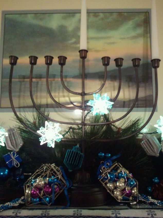"Incredible bargain find at Big Lots a couple of years ago!  This menorah for Chanukah stands 20"" high and takes regular taper candles.  In the foreground are wire driedls filled with colored glass balls."