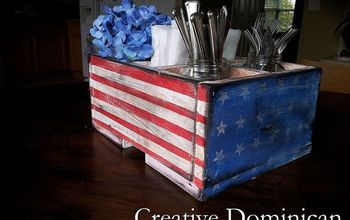 DIY Patriotic Silverware and Napkin Caddy