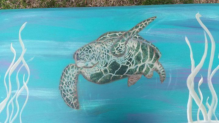Painted Turtle Coffee Table Hometalk - Sea turtle coffee table