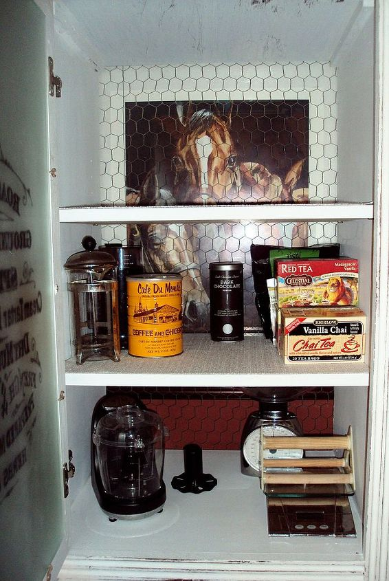 This is the inside of the coffee pantry.  You can see the chicken wire back panel.
