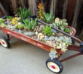 Vintage Red Flyer Wagon Planter With Succulent Plants Hometalk