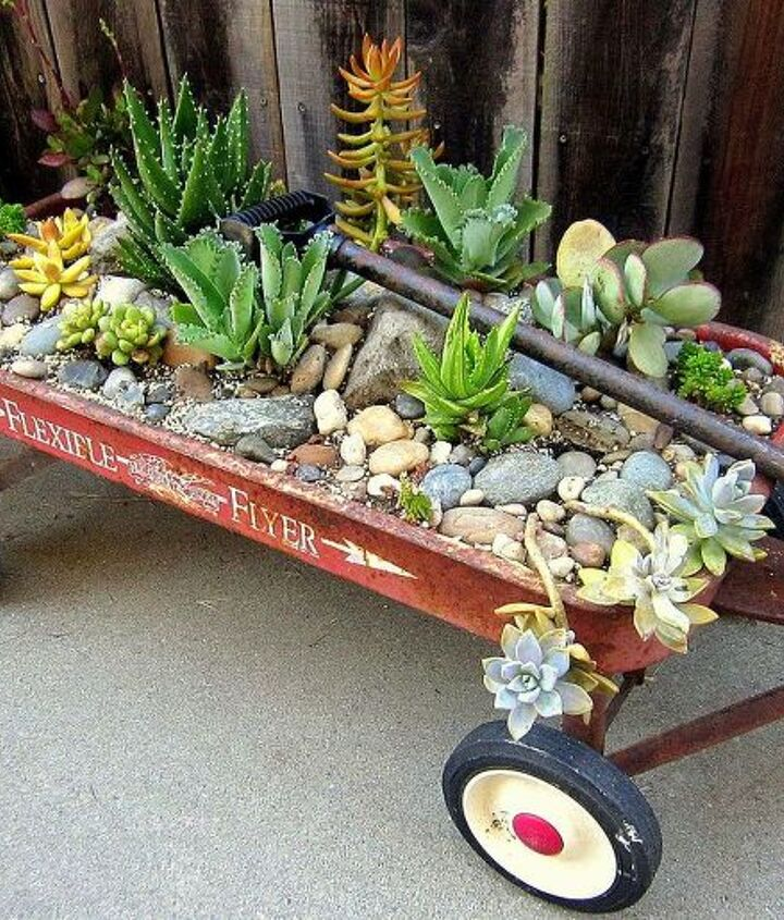 vintage red flyer wagon planter with succulent plants, flowers, gardening, outdoor living, repurposing upcycling, succulents