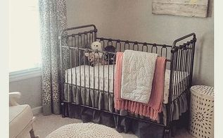 the making of a nursery, bedroom ideas, home decor, painted furniture, She chose an iron crib I made a double dust ruffle out of linen fabric The drapery is a leopard print linen