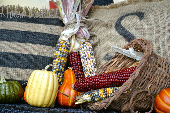 A Fall Front porch is not complete with out Indian Corn and gourds.